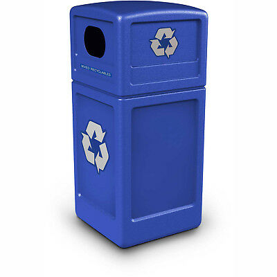 Square Plastic Recycling Container, 42 Gallon, Blue