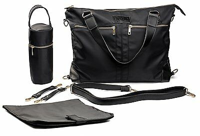 Baby Diaper Bag by Ely's & Co., Designer Classic Black 5 piece Tote Diaper Bag ,