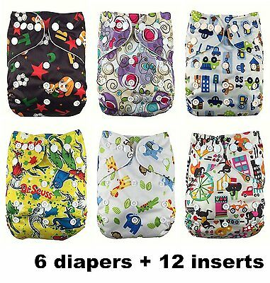 Nooya Baby Washable Reusable Cloth Diapers,breathable, Adjustable Snap, 6pcs 2 +