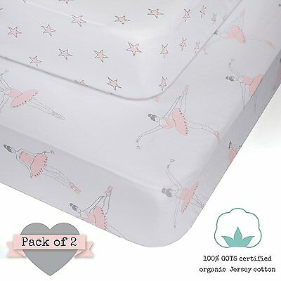 100% ORGANIC Jersey Cotton Fitted Crib Sheets Pink for Girl - 2 pack - GOTS - -