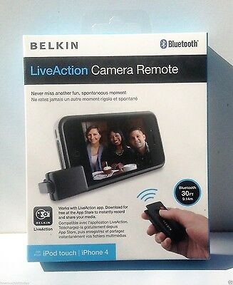BELKIN LiveAction Bluetooth Camera Remote F8Z896 iPod 4, iPhone 4 4s 5 5s NEW