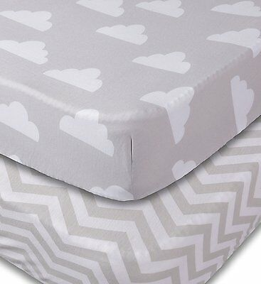 Crib Sheets, 2 Pack Fitted Soft Jersey Cotton Sheet, Bedding with Unisex Clouds