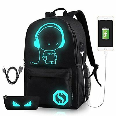 Anime Luminous Anti-Theft  Backpack Daypack Shoulder SchoolBag USB Charger GIFT