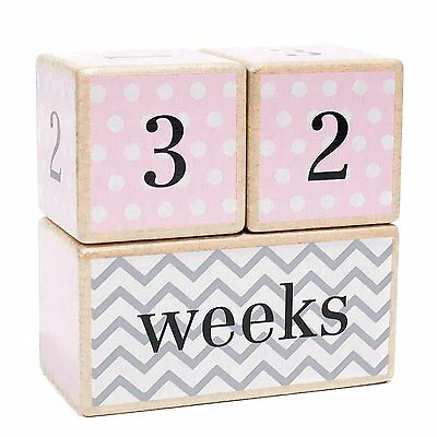 Solid Wood Milestone Age Blocks | Choose From 3 Different Color Styles Pink | |