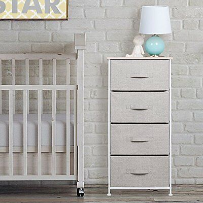 mDesign Fabric Baby 4-Drawer Dresser and Storage Organizer Unit for Nursery, -