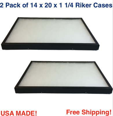 2 Pack of 14 x 20 x 1 1/4 Riker Display Cases Boxes for Collectibles Arrowheads