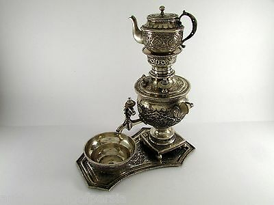 Antique Hand Chased Persian solid Silver Miniature Samovar set made for Export