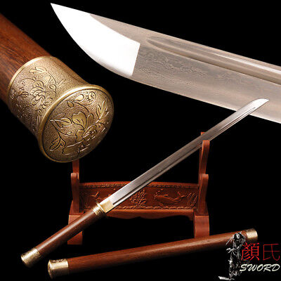 Handmade Chinese Sword Tang Dynasty Dao Rosewood Handle Scabbard Folded Steel