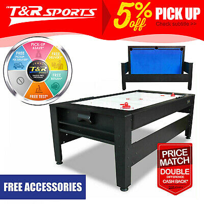 MACE 7FT 2-IN-1 Convertible Air Hockey Pool Table Blue Felt for Billiard Gaming