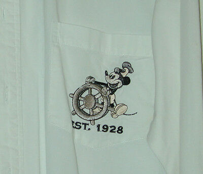 Mickey Mouse Steamboat Willie Button Down White Shirt Size Small