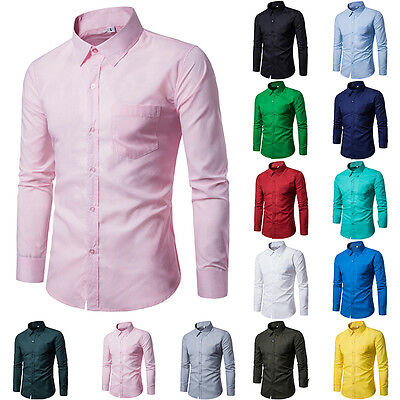 2017 Mens Luxury Long Sleeve Shirt Casual Slim Fit Stylish Dress Shirts Tops