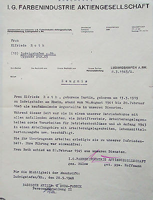 IG Farben document - final period of war - testimonial to employee March 1945
