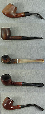 Vintage Lot Of 5 Real Briar & Other Used Smoked Different Tobacco Smoking Pipes