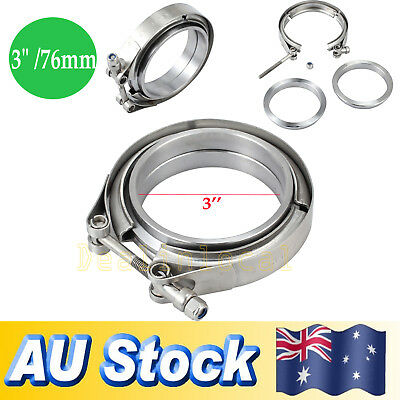 """3.0"""" V Band Clamp 76mm Stainless Steel Turbo Downpipe Female Male Flange Kits"""