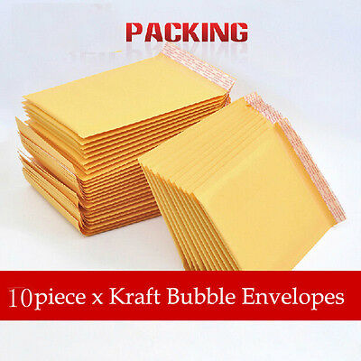 10pcs Kraft Bubble Mailers Padded Envelopes Shipping Bags Choose Size & Pack
