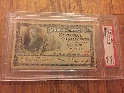 1920 Democratic National Convention Ticket James Cox Franklin Roosevelt PSA