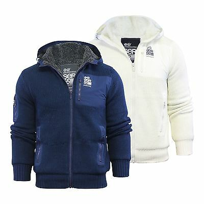 Mens Hooded Cardigan Crosshatch Gleethorpe Fleece Heavy Knitted Hoodie Jacket