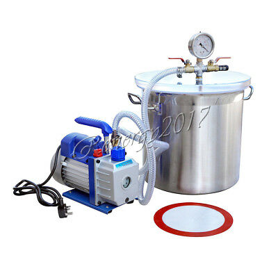 5 Gallon Vacuum Chamber1/3HP 2.5CFM Single Stage Vacuum Pump  for Removing Gases