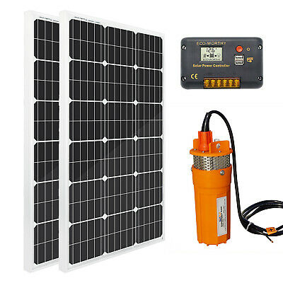 2*100W Solar Panel+DC 24V Deep Well Solar Submersible Water Pump for Farm&Ranch