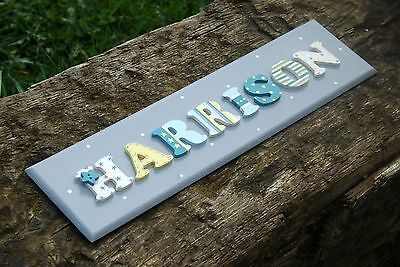 PERSONALISED BOYS WOODEN NAME PLAQUE Hand Painted Room Door Wall Sign Baby