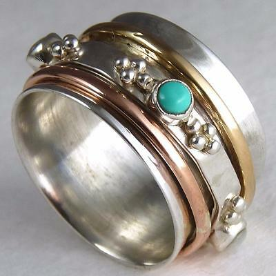 JAPA SPINNER RING US 3 3/4 (H) SILVERSARI 925 Sterling Silver PEARL & TURQUOISE