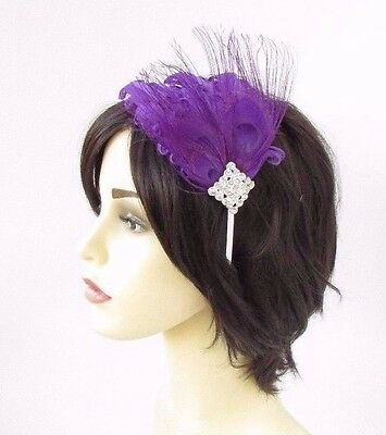 Purple Silver Diamante Feather Fascinator Headband 1920s Races Great Gatsby 3789