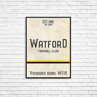 Vicarage Road Watford FC White A3 Picture Art Poster Retro Vintage Style Print
