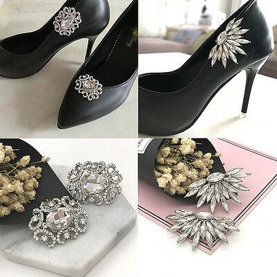 1PCS Wedding Crystal Boots Shoes Buckle Silver Rhinestone Shoe Clips Accessories