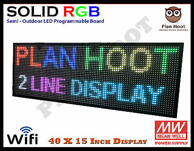 """40""""x15"""" Led Rgb 7 Color Wifi Usb Semi Outdoor Indoor Programmable Scrolling Sign"""
