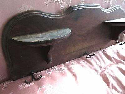 Antique Wood Wall Shelf Hat Rack Coat Hook Primitive(Organ Salvage Candle Stand)