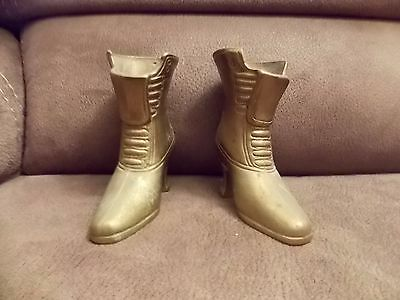 Vintage Victorian Pair Of Brass Shoes Figurines