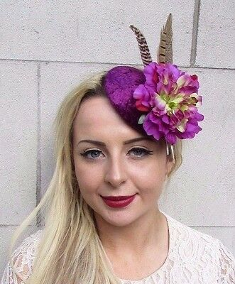 Plum Purple Brown Pheasant Flower Feather Pillbox Hat Fascinator Hair Clip 3795
