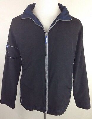 Norton Windbreaker Jacket Men's size Large Full Zip Hooded Black Blue EUC