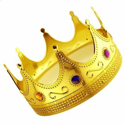 Royal Crown Gold King Plastic Crown Prince Costume Accessory Kings & Queens TAX0