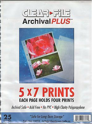 """NEW Clearfile 370025B Archival Plus 5"""" X 7"""" Print Pages  25 Pack"""