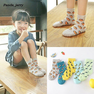 Grils Cartoon Fruit Print Short Socks Lovely Kids Soft Cotton Anti-slip Socks