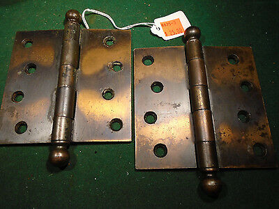 PAIR VINTAGE STANLEY SWEETHEART JAPANNED 4 x 4 CANNON BALL TIP HINGES (8635-3)