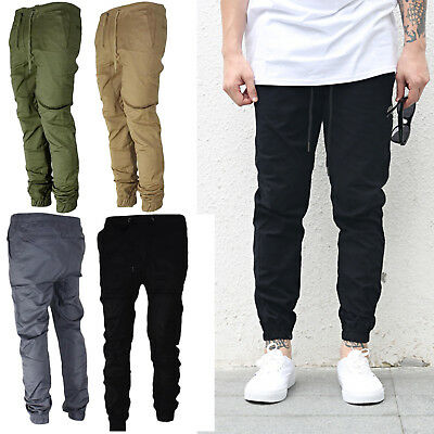 Mens Twill Jogger Pants Urban Hip Hop Harem Casual Trousers Slim Fit Elastic HI