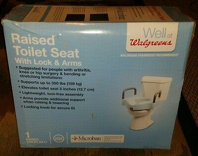Well At Walgreens Raised Toilet Seat With Lock & Arms Microban Antimicrobial
