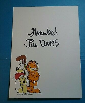 Jim Davis ( Garfield ) Signed Autograph With Garfield & Odie