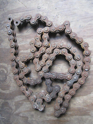 """LARGE VINTAGE DIAMOND ROLLER CHAIN 1"""" pitch (#80) 3/4"""" dia rollers 98"""" long USA"""