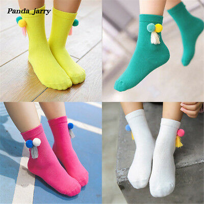 Girls Soft Cotton Princess Socks 10 Colors Boys Double Ball Tassel Baby Sock