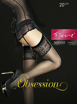 FIORE Mirage Luxury 20 Denier Super Fine Decorative Sheer Stockings - 2 Colours