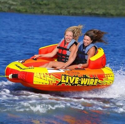 Airhead Live Wire 2 Rider Inflatable Water Tube Float Boat Tow Towable AHLW-2