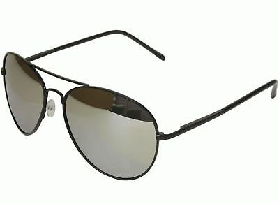 Mens Womens 50mm x 58mm Black Frame Mirror Aviator Sunglasses with Spring Hinge