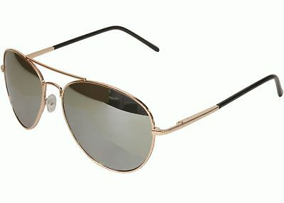 Mens Womens 50mm x 58mm Gold Frame Mirror Aviator Sunglasses with Spring Hinge