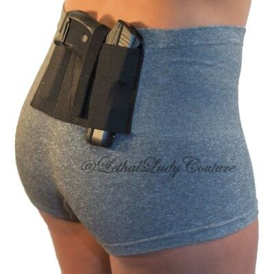 WOMEN'S CONCEALED CARRY Gray Boy Short w Gun Holster- CCW Tactical Pant  S,M,L,XL