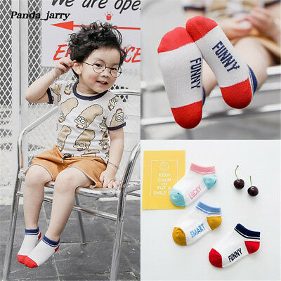 Kawaii Funny Letter Cotton Socks 3 Pairs Gilrs Boys Smark Baby Short Socks Kids