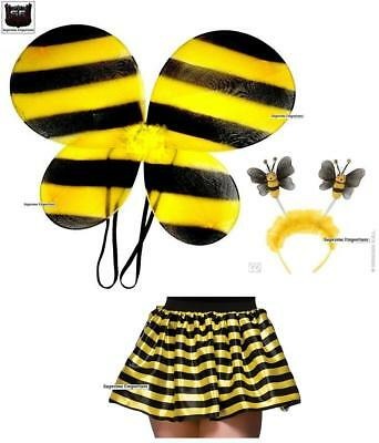 Supreme Bumble Bee Wings Tutu Deluxe Boppers Set Adult Black Yellow Fancy Dress