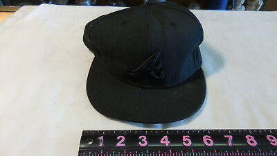 6330927b53dcb New Era 59FIFTY ATLANTA BRAVES Black on Black Cap MLB Baseball 5950 Fitted  Hat